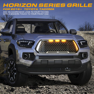 Xprite Horizon Grill Toyota Tacoma (2016-2019) w/ Amber LED Running Lights
