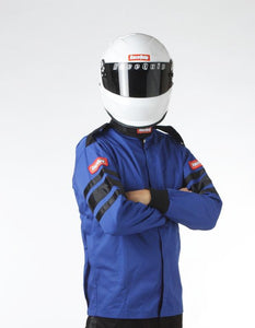RaceQuip 111 Series Pyrovatex Single Layer Racing Driver Fire Jacket [SFI 3.2A/ 1] - Black/Red/Blue