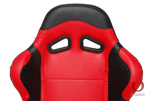 Cipher Auto Leatherette Seats (Black/Red/Carbon Fiber - Sold as a Pair - Reclining) CPA1003CFBKRD