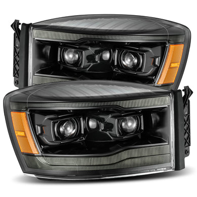 AlphaRex Dual LED Projector Headlights Dodge Ram [LUXX Series - Sequential Turn Signal] (06-08) Alpha-Black / Black / Chrome