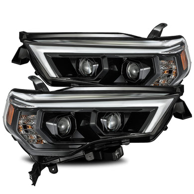 AlphaRex Dual LED Projector Headlights Toyota 4Runner [LUXX Series - Sequential Turn Signal] (14-20) Alpha-Black / Black / Chrome