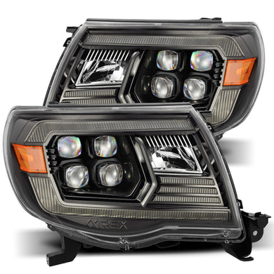 AlphaRex Quad 3D LED Projector Headlights Toyota Tacoma [NOVA Series - DRL Light Tube] (05-11) Alpha-Black / Black / Chrome