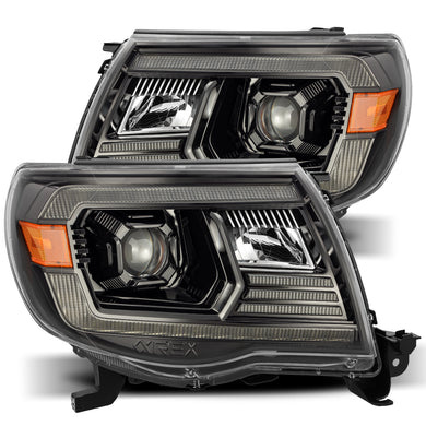 AlphaRex Dual LED Projector Headlights Toyota Tacoma [LUXX Series - DRL Light Tube] (05-11) Alpha-Black / Black / Chrome