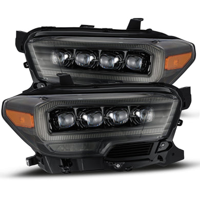 AlphaRex Quad 3D LED Projector Headlights Toyota Tacoma [Nova Series - Sequential Turn Signal] (16-20) Alpha-Black / Black / Chrome