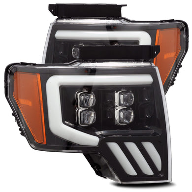 AlphaRex Quad 3D LED Projector Headlights Ford F150 [Nova Series - Sequential Signal] (09-14) Jet Black / Black / Chrome