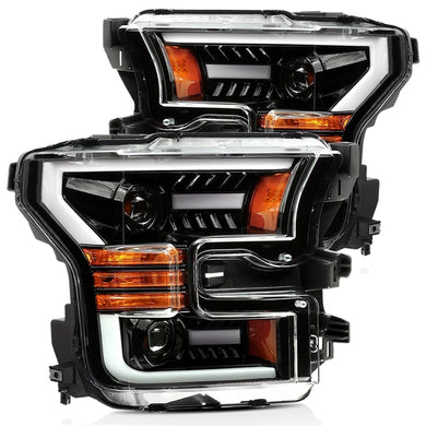 AlphaRex Projector Headlights Ford F150 Raptor [Pro Series - Switchback DRL & Sequential Signal] (17-20) Jet Black / Black / Chrome