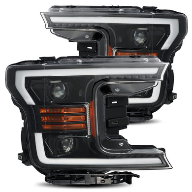 AlphaRex Projector Headlights Ford F150 [Pro Series - Switchback DRL & Sequential Signal] (18-20) Jet Black / Black / Chrome