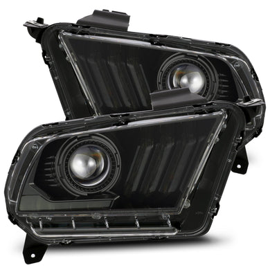 AlphaRex Projector Headlights Ford Mustang w/ Halogen Lights [Pro Series - Switchback DRL & Sequential Signal] (10-12) Alpha-Black / Black / Chrome