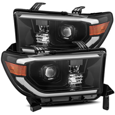 AlphaRex Dual LED Projector Headlights Toyota Sequoia [LUXX Series - DRL Light Tube] (08-13) Alpha-Black / Black / Chrome