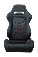 Load image into Gallery viewer, Cipher Auto Micro Suede (Black w/ Red & Carbon Fiber - Pair - Reclining) CPA1075CFSDBK-R