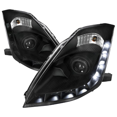 Spec-D Projector Headlights Nissan 350Z [DRL HID] (06-09) Black / Smoke / Clear