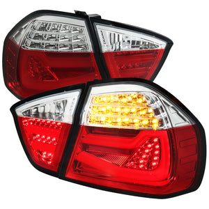 Spec-D LED Tail Lights BMW E90 328i/335i Sedan (05-08) Red / Chrome / Black