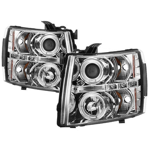 Spyder Projector Headlights Chevy Silverado 1500 / 2500HD / 3500HD [LED Halo] (07-13) Black/Black Smoke/Chrome/ Smoke