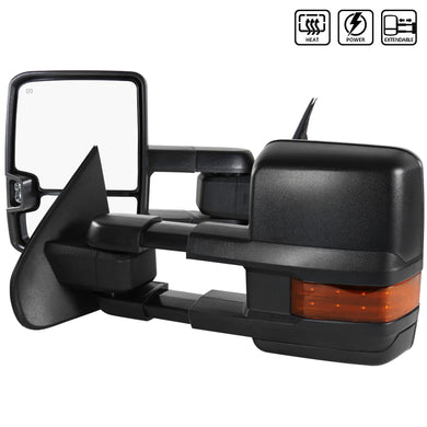 Spec-D Towing Mirrors Chevy Silverado (2014-2018) Powered Extended w/ LED