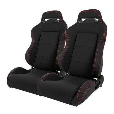 Spec-D Racing Seats [Recaro Style - Black Cloth/Double Red Stitch - Pair) RS-C200RSV2-2