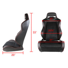 Load image into Gallery viewer, Spec-D Racing Seats [Recaro Style - Black PVC Suede/Red Stitch) Pair