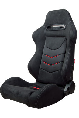 Cipher Auto Micro Suede (Black w/ Red & Carbon Fiber - Pair - Reclining) CPA1075CFSDBK-R