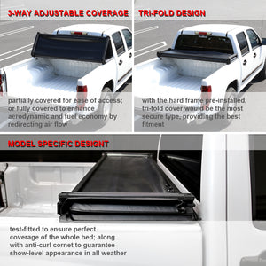 Spec-D Tonneau Cover Dodge Ram (2009-2018) Tri-Fold Soft Cover