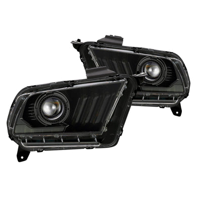 AlphaRex Dual LED Projector Headlights Ford Mustang w/ Halogen Lights [LUXX Series - Switchback DRL & Sequential Signal] (10-12) Alpha-Black / Black / Chrome