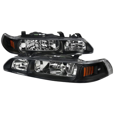 Spec-D OEM Replacement Headlights Acura Integra (1990-1993) Black w/ Corner Signals
