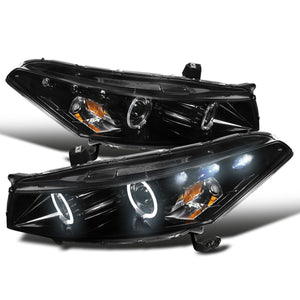 Spec-D Projector Headlights Honda Accord Coupe [Dual LED Halo] (08-12) Black / Chrome / Smoke