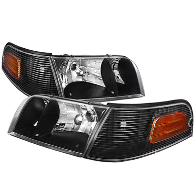 Spec-D OEM Replacement Headlights Ford Crown Victoria (1998-2011) Black / Smoked / Chrome