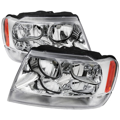 Spec-D OEM Replacement Headlights Jeep Grand Cherokee (99-04) Chrome / Smoke / Black