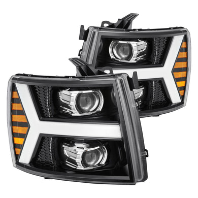 AlphaRex Projector Headlights Chevy Silverado [Pro Series - Switchback DRL & Sequential Signal] (07-14) Jet Black / Black / Chrome
