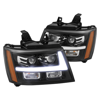 AlphaRex Projector Headlights Chevy Avalanche [Pro Series - DRL Light Tube] (07-13) Jet Black / Black / Chrome