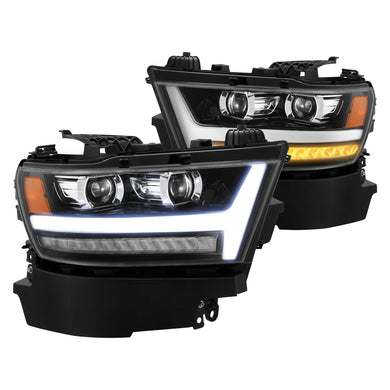 AlphaRex Projector Headlights Ram 1500 [Pro Series - Sequential Signal] (19-20) Jet Black / Black / Chrome