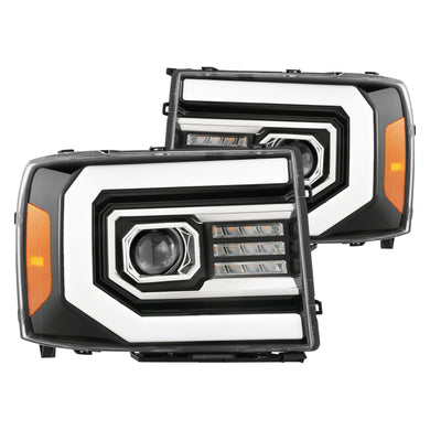 AlphaRex Projector Headlights GMC Sierra [Pro Series - Switchback DRL / Sequential] (07-13) Jet Black / Black / Chrome