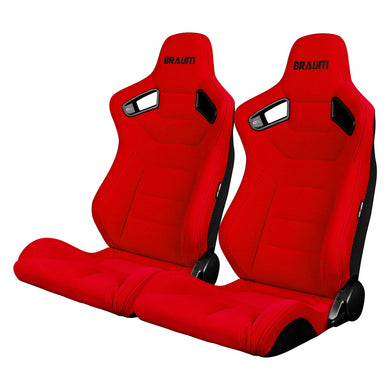 BRAUM Elite Sport Seats (Reclining - Red Jacquard Suede Cloth) BRR1-RFBS