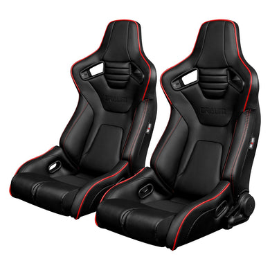 BRAUM Elite-R Racing Seats (Reclining - Black w/ Red Piping Leatherette) BRR1R-BKRP