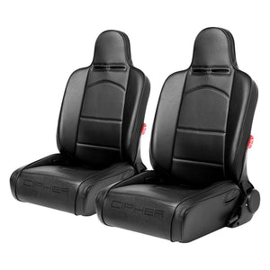 Cipher Auto Synthetic Leather Racing Seats (Reclining - Pair) Black/Red CPA3002PBK