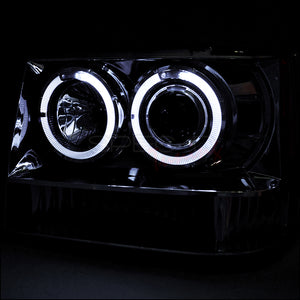 Spec-D Projector Headlights Jeep Grand Cherokee [Halo LED] (92-96) Black or Chrome