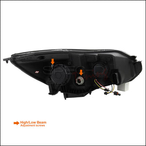Spec-D Projector Headlights Ford Focus [DRL LED Black] (2012-2014) Black Housing