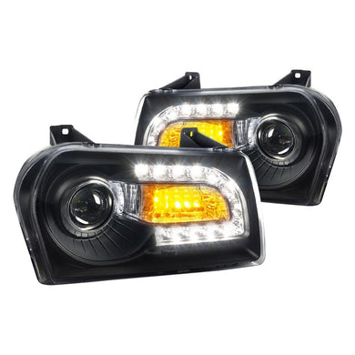 Spec-D Projector Headlights Chrysler 300 [LED DRL] (2005-2010) Black Housing