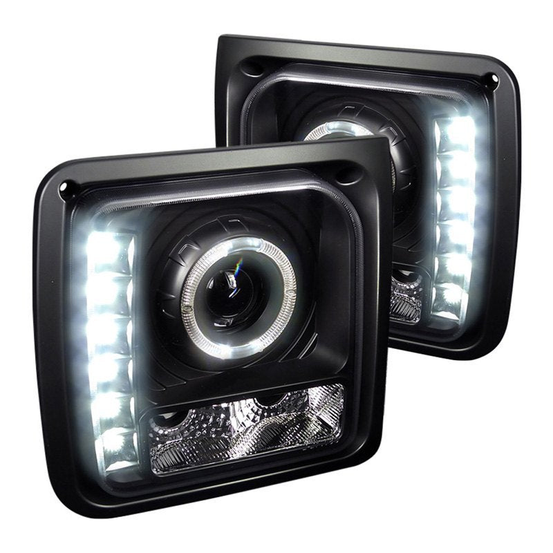 Spec-D Projector Headlights Jeep Cherokee [Halo LED] (1997-2001) Black or Chrome