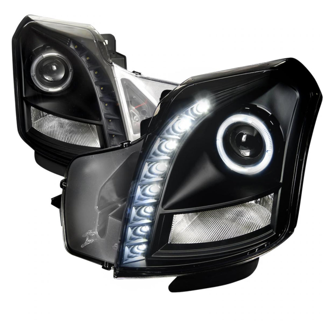 Spec-D Projector Headlights Cadillac CTS [Halo LED] (03-07) Black / Smoked / Chrome