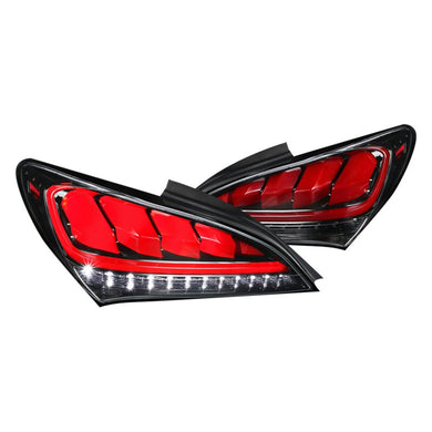 Spec-D Tail Lights Hyundai Genesis Coupe [Sequential] (2010-2016) Black / Red