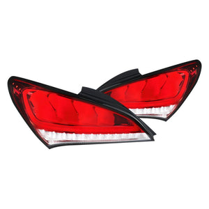 Spec-D Tail Lights Hyundai Genesis Coupe [Sequential] (2010-2015) Black / Red