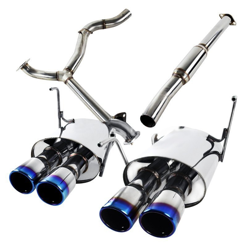 Spec-D Tuning Exhaust Subaru WRX/STi Sedan [Burnt Tips] (08-14) Quad Blue Tips