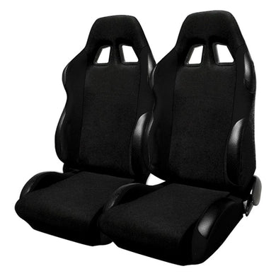 Spec-D Racing Seats [JDM Bride Style - Black Cloth) Sold as a Pair