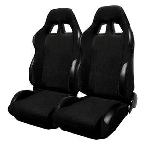 Spec-D Racing Seats [JDM Bride Style - Black Cloth - Pair) RS-501-2