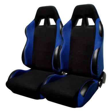 Spec-D Racing Seats [JDM Bride Style - Black/Blue Cloth) Sold as a Pair