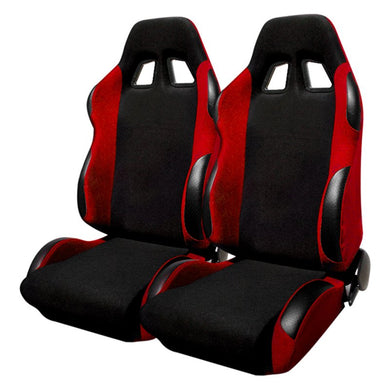 Spec-D Racing Seats [JDM Bride Style - Black/Red Cloth - Pair) RS-505-2