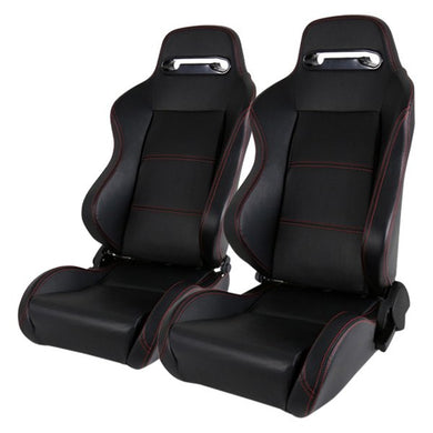 Spec-D Racing Seats [Recaro Style - Black PVC Leather/Red Stitch) Pair