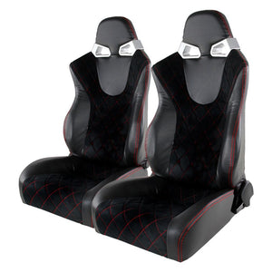 Spec-D Racing Seats [Black Suede / Red Stitch - Reclining Pair) Gray Accents