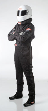 RaceQuip 110 Series Pyrovatex One Piece Single Layer Racing Driver Fire Suit [SFI 3.2A/ 1] - Black/Red/Blue