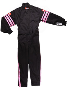 RaceQuip SFI-1 Pro-1 One Piece Single Layer Kids Suits [SFI 3.2A/1] - Purple/Green/Pink/Black Trim